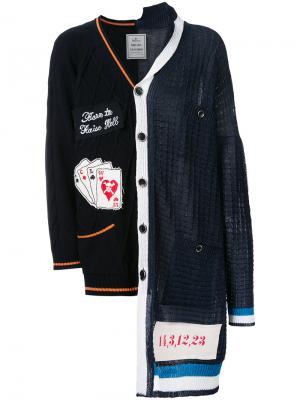 Комбинированный кардиган Maison Mihara Yasuhiro. Цвет: синий