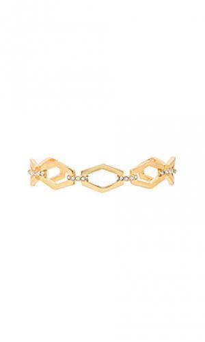 Браслет с цепочным соединением звеньев Luv AJ. Цвет: металлический золотой