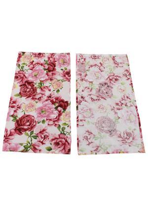 Набор полотенец Рогожка Римейн. Цвет: розовый