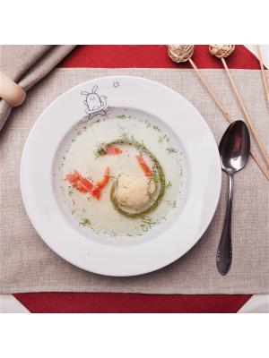 Сюжетная тарелка Кроль с кругом (глубокая) Счастье в мелочах. Цвет: белый