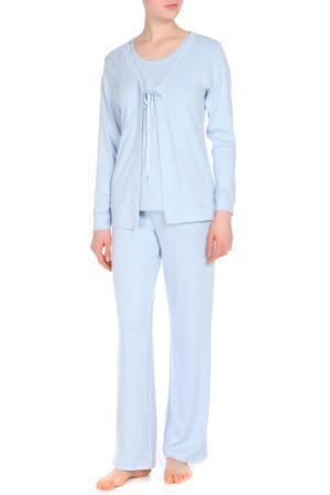 Пижама с брюками тройка Relax Mode. Цвет: синий