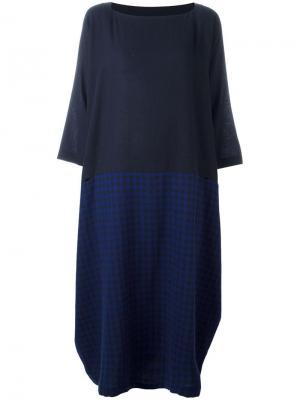 Асимметричное платье в клетку Daniela Gregis. Цвет: синий
