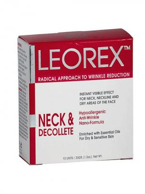 Гипоаллергенная нано - маска от морщин для шеи и зоны декольте Neck  Dеcolletе, 3,3 мл х 10 шт. Leorex. Цвет: белый