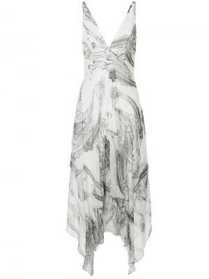 Платье Georgette с нарисованным узором пейсли Manning Cartell. Цвет: белый