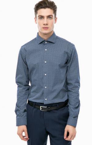 Приталенная рубашка из хлопка Cinque. Цвет: синий