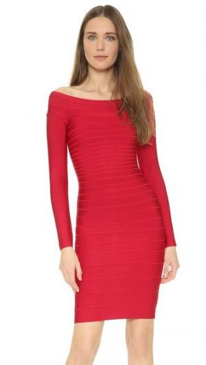 Коктейльное платье с длинными рукавами Signature Essential Herve Leger. Цвет: губная помада