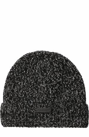 Шерстяная шапка фактурной вязки Belstaff. Цвет: черно-белый