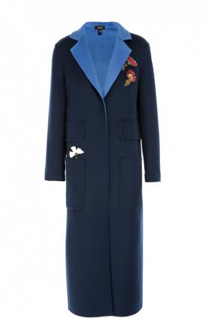 Пальто прямого кроя с контрастными нашивками Poustovit. Цвет: синий