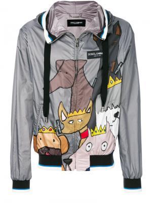 Куртка с капюшоном и заплатками K-Way Dolce & Gabbana. Цвет: серый
