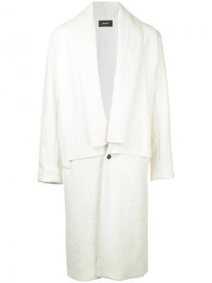 Пальто с двойным воротником Berthold. Цвет: белый