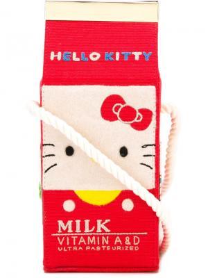 Сумка через плечо Face Milk Box Olympia Le-Tan. Цвет: красный