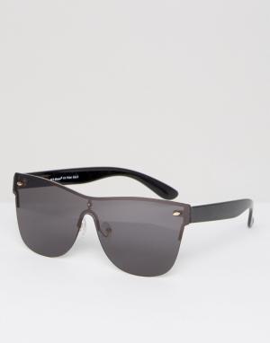 AJ Morgan Черные солнцезащитные очки-маска. Цвет: черный