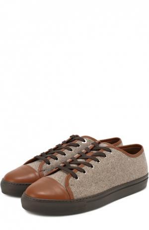 Текстильные кеды с кожаным мысом Zonkey Boot. Цвет: коричневый