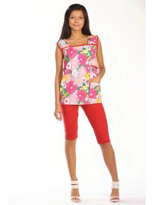 Домашний костюм Тефия. Цвет: зеленый, темно-красный, розовый
