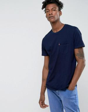 Levis Футболка цвета индиго с карманом Sunset. Цвет: темно-синий