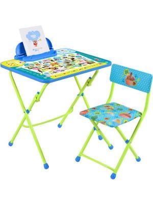 Комплект мебели пушистая азбука (стол+стул винил.+ пенал) Nika. Цвет: синий, зеленый