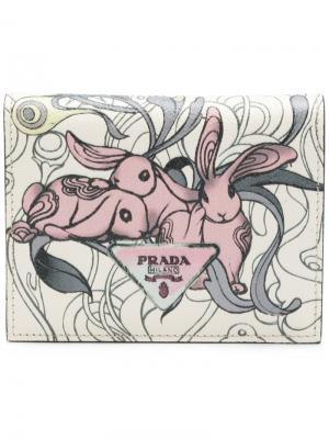 Кошелек с кроликами Prada. Цвет: розовый и фиолетовый