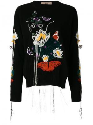 Платье-свитер с вышивкой Piccione.Piccione. Цвет: чёрный
