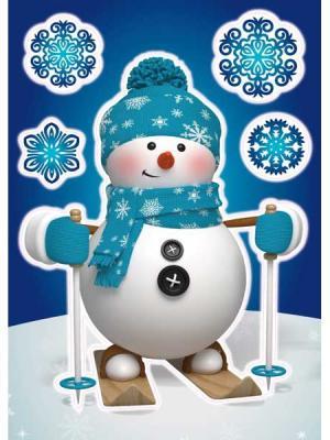 Виниловая наклейка  Снеговичок на лыжах, 5 шт DECORETTO. Цвет: синий, голубой, белый