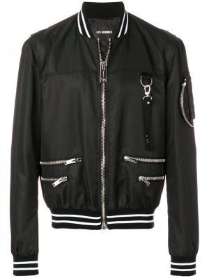Куртка-бомбер с металлическим деталями Les Hommes. Цвет: чёрный