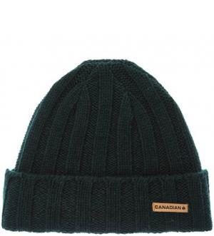 Зеленая шерстяная шапка CANADIAN. Цвет: зеленый
