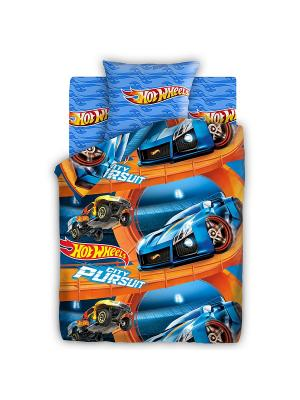 Постельное белье Hot Wheels. Цвет: синий