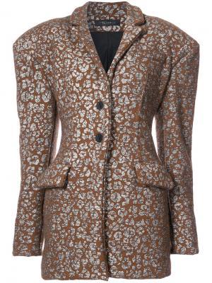 Exaggerated shoulder blazer Barbara Bologna. Цвет: коричневый