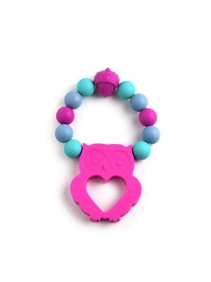 Браслет  - прорезыватель с совой фуксия MamSi. Цвет: лазурный, малиновый, серо-голубой