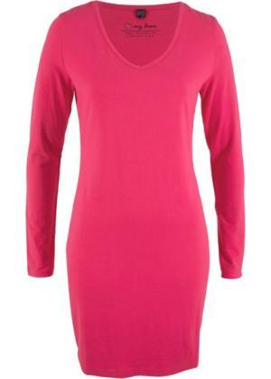 Трикотажное платье-стретч с длинным рукавом (ярко-розовый гибискус) bonprix. Цвет: ярко-розовый гибискус