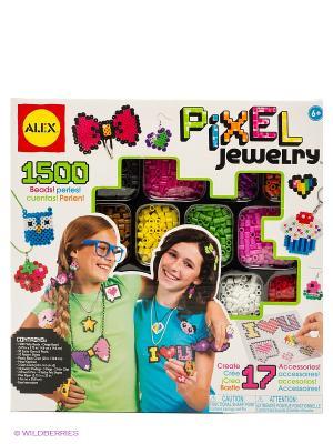 Набор для создания браслетов Пиксели, от 6 лет Alex. Цвет: белый, желтый, красный