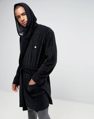 ASOS Махровый халат с логотипом. Цвет: черный