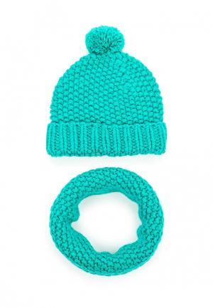 Комплект шапка и снуд Fete. Цвет: бирюзовый