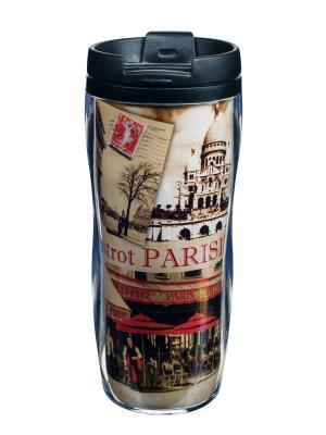 Чайная кружка для путешествий пластиковая 13,5x18 см ,  Парижское бистро Orval. Цвет: черный, бежевый, красный
