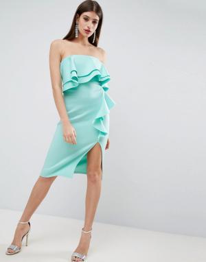 ASOS Платье-бандо миди с двойной оборкой и каскадной драпировкой. Цвет: синий