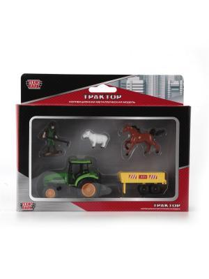 Трактор Технопарк металический с прицепом  и фигурками 7,5 см.. Цвет: зеленый, желтый
