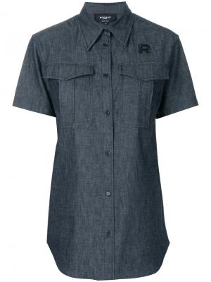 Джинсовая рубашка с короткими рукавами Rochas. Цвет: чёрный