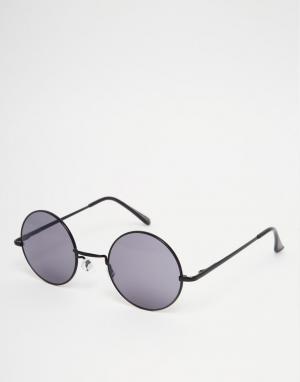 7X Круглые солнцезащитные очки с серыми линзами. Цвет: черный