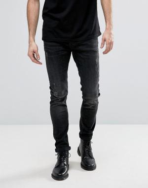 AllSaints Черные рваные джинсы-сигаретки Raveline. Цвет: черный