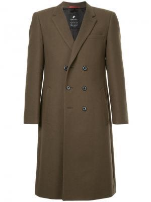 Двубортное пальто Loveless. Цвет: зелёный