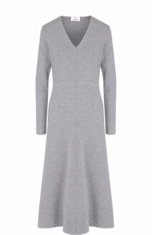 Приталенное шерстяное платье с V-образным вырезом Allude. Цвет: серый