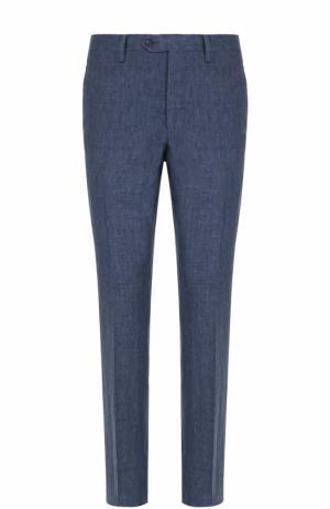 Льняные брюки прямого кроя Germano. Цвет: темно-синий