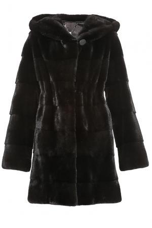 Шуба из меха норки BLACKGLAMA 181562 Mousios. Цвет: черный