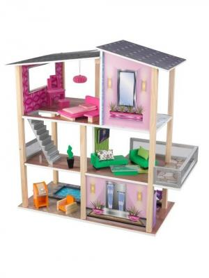 Домик для мини-кукол Стильный коттедж KidKraft. Цвет: серый, розовый