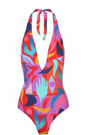 Слитный купальник с ярким принтом и открытой спиной Lazul. Цвет: разноцветный