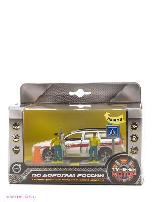 Машина мет. ин. 1:32 Volvo Скорая помощь, откр.двери, свет, звук Пламенный мотор. Цвет: белый