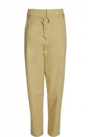 Прямые брюки с завышенной талией и прорезными карманами Isabel Marant. Цвет: желтый
