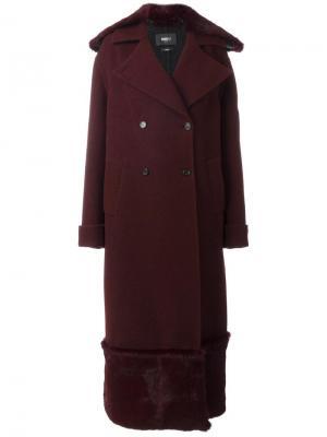 Удлиненное пальто с меховой отделкой Yang Li. Цвет: красный