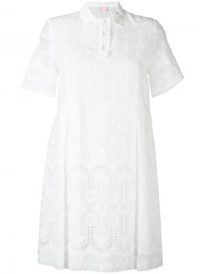 Платье с английской вышивкой Giamba. Цвет: белый