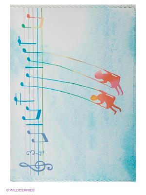 Обложка для автодокументов Ноты любви Mitya Veselkov. Цвет: белый, голубой
