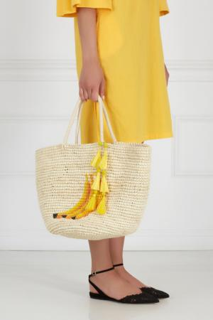 Соломенная сумка Sensi Studio. Цвет: кремовый, оранжевый